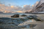 stock photo of lofoten  - Bright white sand and crystal blue water make this a popular destination for holiday makers on Lofoten - JPG