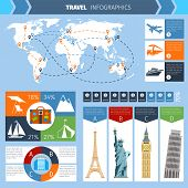 picture of passport template  - Travel infographic set with world landmarks map and charts vector illustration - JPG
