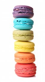 picture of food pyramid  - Tasty colorful macaroons isolated on white - JPG