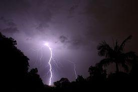 image of lightning-rod  - Thunderbolt of lightning at night during a thunderstorm - JPG