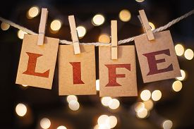 picture of pro-life  - The word LIFE printed on clothespin clipped cards in front of defocused glowing lights - JPG