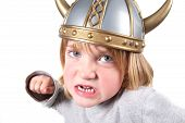 stock photo of viking  - child with viking helmet isolated on white - JPG