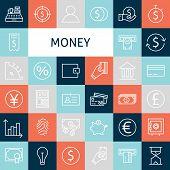 Vector Flat Line Art Modern Money And Finance Icons Set poster