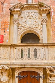 stock photo of lions-head  - Ornate entrance to the Town Hall in the Old Town of Gdansk in Poland - JPG