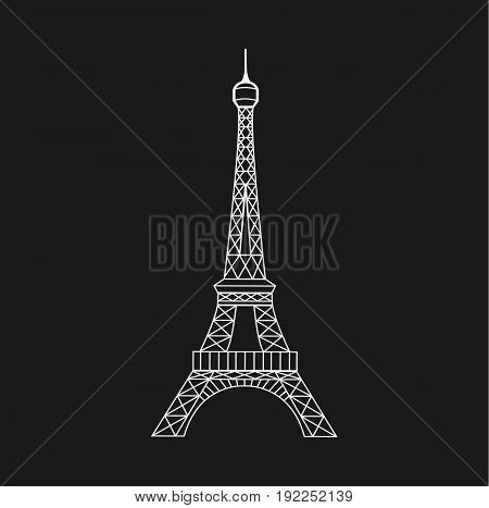 poster of Eiffel Tower in Paris, France. Eiffel tower isolated icon. Vector stock.