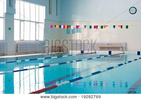 Empty new school swimming pool poster
