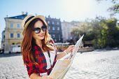 Lovely Tourist Girl In European City poster
