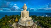 Aerial Photography White Great Phuket's Big Buddha In Blue Sky. poster