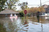 stock photo of katrina  - this photo shows downed power lines in a flooded area of new orleans in the aftermath of hurricane katrina - JPG