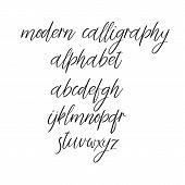 Vector Calligraphy Alphabet. Handwritten Font Isolated On White Background. poster