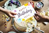 Birthday Cake with Wishing Card Celebration Party poster