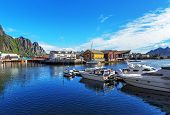Scenic View Of The Waterfront Harbor In Svolvaer In Summer. poster