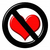 stock photo of loveless  - 3d anti love sign - JPG