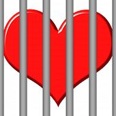 stock photo of loveless  - 3d jailed heart - JPG
