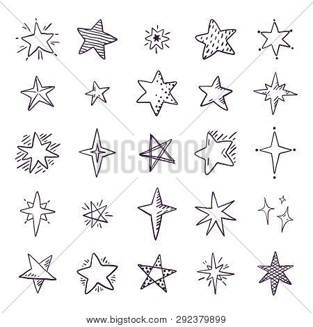 poster of Doodle Stars. Cute Pen Sketch Space Elements, Simple Black Geometric Set, Hand Drawn Star Pattern Fo