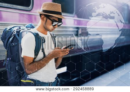 poster of Young Asian Traveler With Backpack In The Railway, Backpack And Hat At The Train Station With A Trav
