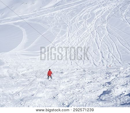 Free Ride Piste With Skier