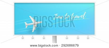 poster of Silver Airplane In Blue Sky On Billboard. Time To Travel. Flying Plane On Blue Background. The Conce