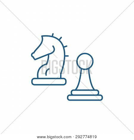 Knight And Pawn Line Icon