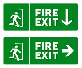 Green Fire Exit Sign With Icon Of Man Running Through A Door. Emergency Exit Label With Direction Ar poster
