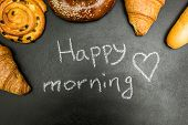 Fresh Baked Goods On A Black Background, The Words good Morning poster