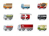 stock photo of ladder truck  - Truck icon set on white - JPG