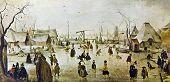 Постер, плакат: Хендрик Avercamp 1585 1634 «Сцена на льду вблизи города» Воспроизведение с иллюстрированной энциклопедии
