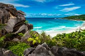 Amazing View At Grande Anse Beach Located On La Digue Island, Seychelles poster