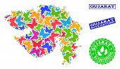 Eco Friendly Composition Of Bright Mosaic Map Of Gujarat State And Rubber Stamps With Save Nature Ca poster
