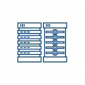 Servers Line Icon Concept. Servers Flat  Vector Symbol, Sign, Outline Illustration. poster