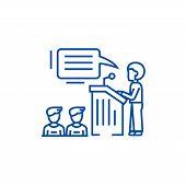 Speaker, Presentation, Podium Tribune Stand Line Icon Concept. Speaker, Presentation, Podium Tribune poster