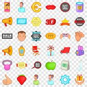 Different Advertising Icons Set. Cartoon Style Of 36 Different Advertising Icons For Web For Any Des poster