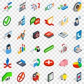 Statistics Icons Set. Isometric Style Of 36 Statistics Icons For Web For Any Design poster
