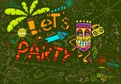 foto of tiki  - illustration of colorful tiki party card in doodle style - JPG