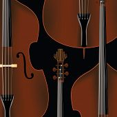 Double Bass Background With Basses In Realistic Style. poster