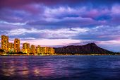 City of Honolulu and Diamond Head volcano at twilight. Oahu, Hawaii poster