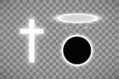 Set Of Shining White Cross And Halo Ring Of White Angel And Total Eclipse Of The Sun On A Transparen poster