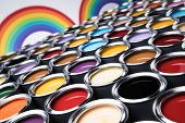 Paint cans color palette and Rainbow colors poster