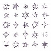 Doodle Stars. Cute Pen Sketch Space Elements, Simple Black Geometric Set, Hand Drawn Star Pattern Fo poster