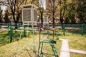 Meteorological Station In Outdoors. Meteorology. Instrument. Weather poster