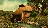 picture of water-mill  - a water mill on a flower meadow in the Shire - JPG