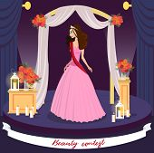 Beauty Contest Winner Vector Greeting Card Concept. Miss Universe, Prom Queen Cartoon Character. Ele poster