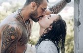 Passion Love Couple. Romantic Moment. Handsome Muscular Guy And Amazing Sexy Woman. Cosmopolitan Cou poster