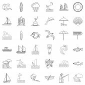Water Creature Icons Set. Outline Style Of 36 Water Creature Icons For Web Isolated On White Backgro poster