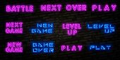 Realistic Isolated Neon Sign Of New Game, Level Up And Game Over, Battle Logo For Template Decoratio poster