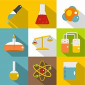 Chemistry Science Icon Set. Flat Style Set Of 9 Chemistry Science Icons For Web Design poster