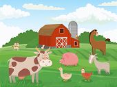 Farm Animals. Village Animal Farms, Cows Red Barn And Cattle Field Landscape Cartoon Vector Illustra poster
