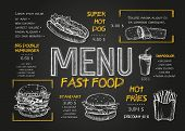 Fast Food Menu Cover Layout With Breakfast, Drinks, And Other Menu Items On Chalkboard. Fast Food Me poster