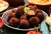 Middle Eastern Or Arabic Dishes And Assorted Meze, Concrete Rustic Background. Falafel. Turkish Dess poster