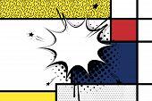 Retro Mondrian Red Yellow Blue Geometric Background. Comic Text Speech Bubble Box. Minimal Trendy Fa poster